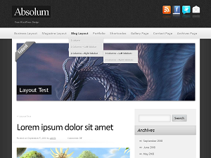 Build your attractive theme from color options, custom header (8 preinstalled) and background (7 preinstalled) – that's Absolum. Use your imagination and get a theme layout which you like. You may decide if you want right, left or disabled sidebar. Add up to 7 subscribe/follow buttons. Display last post(s) as static, as a slideshow or cool Nivo Slider. Choose content font or add your own CSS style. The Absolum also comes with Custom menu (8 preinstalled color schemes), 6 widgetized areas and the admin Visual Editor. Absolum is cross-browser compatible.