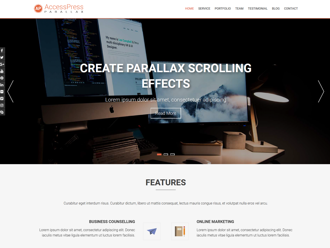 Accesspress Parallax screenshot
