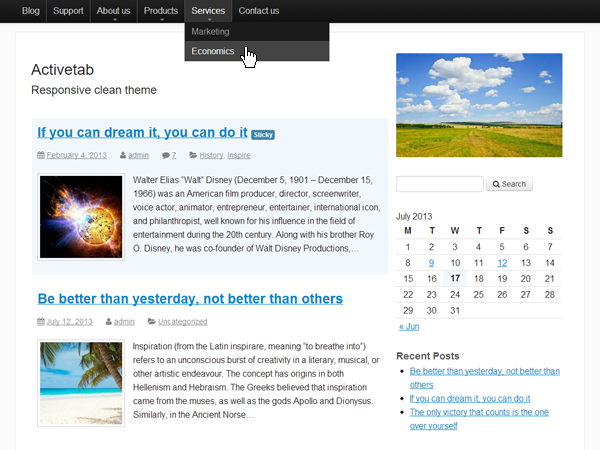 Responsive clean theme. More info at http://web-profile.com.ua/activetab/