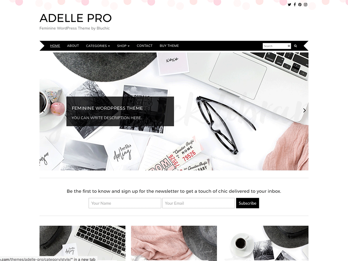 Your brand is eager and ready to go. The Adelle Theme is ready for you! With a soft pink confetti header and minimalist two-columns, you can get started blogging in no time. Adelle is poised to host any female-oriented brand.