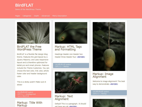 screenshot of theme BirdFLAT
