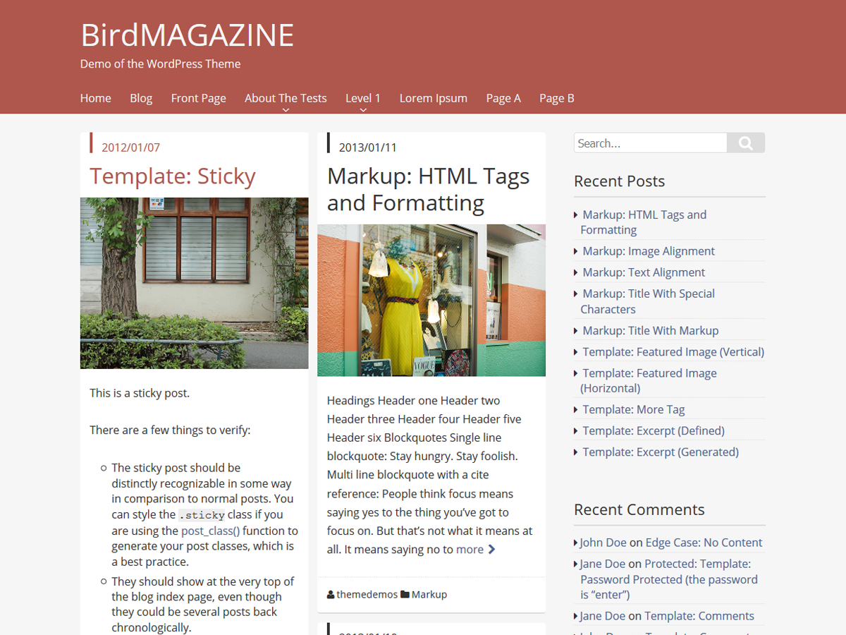 screenshot of theme BirdMAGAZINE