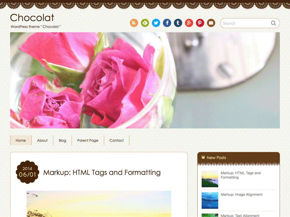 screenshot of theme Chocolat