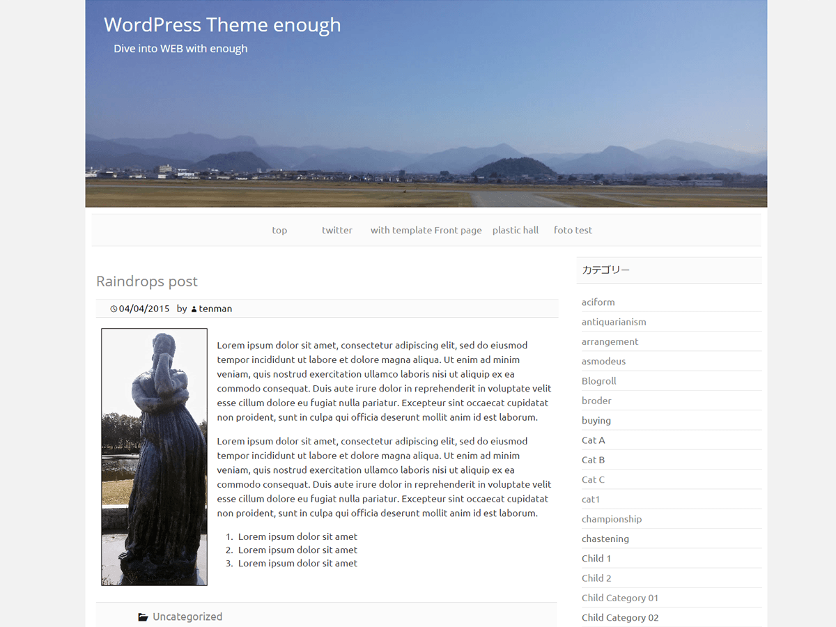 screenshot of theme Enough