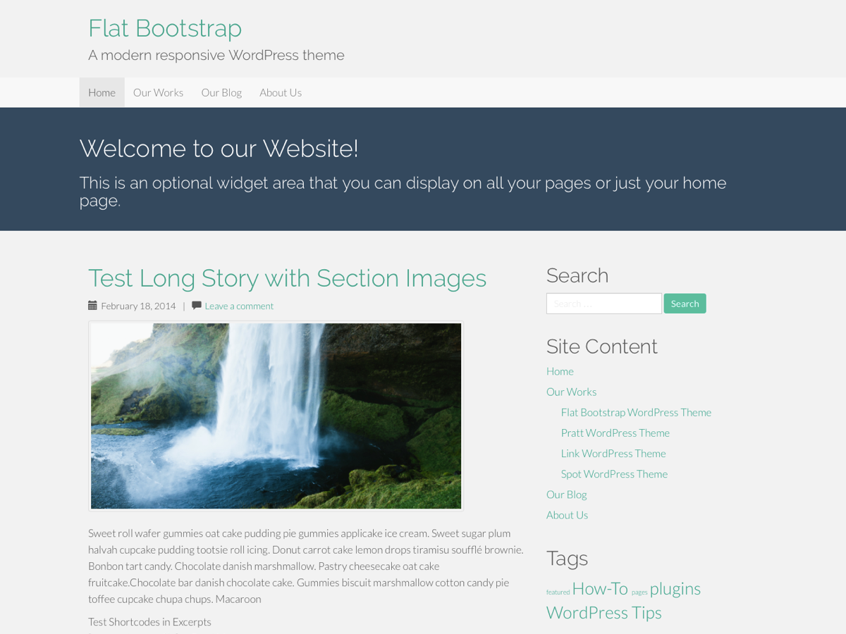 "Flat Bootstrap by XtremelySocial is a modern, fully responsive, ""flat"" style theme with a nice color palette, big full-width images, and full-width colored sections. It automatically adapts for desktops, tablets, and phones. It is based on the WordPress standard starter theme (_S) and the Twitter Bootstrap CSS framework. Features include a mobile navigation bar, multiple columns (grid), buttons, icons, labels, badges, tabbed content areas, collapsible content areas, progress bars, alert boxes, carousels (sliders) and much, much more. This is a theme for both users and theme developers with lots of features but without the bloat. For a live demo go to http://xtremelysocial.com/wordpress/flat/."