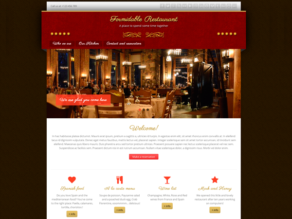 Formidable Restaurant is a beauty and elegant responsive HTML5 theme for restaurants, coffee shops and lounges. It's based on Corpo Theme from Aleksandra Łączek. This WordPress theme inherits all Corpo parent theme capabilities except scheme colors because this theme is made on red color style only.