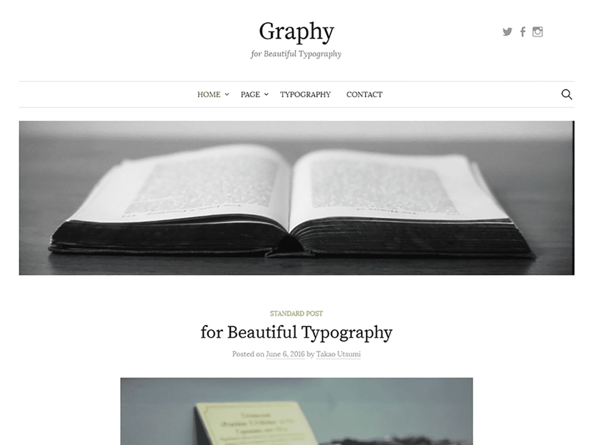 Graphy is a WordPress theme for blogs that are designed to have beautiful typography. It is developed using mobile-first responsive design, ensuring that your blog will be no less beautiful when viewed on a smartphone or tablet. Graphy has five widgets available (one sidebar, four footers), and using the sidebar widget also enables you to make a two-column design. In addition, footer widget display is automatically adjusted depending on how many are used. Graphy also supports Customizer, Custom Menu, and Custom Header, enabling flexible configuration.