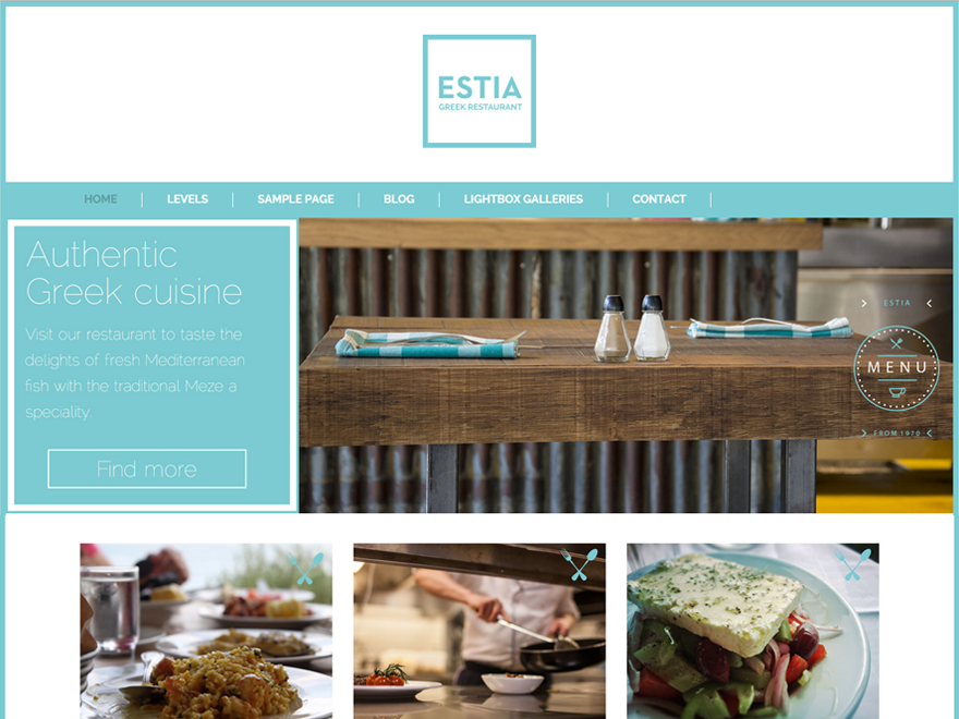 Greek Restaurant is a lightweight bootstrap theme for restaurants, barbecues, pizzerias and more. It has custom menu, header and background.
