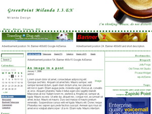 GreenPoint Milanda 1.3.EN WordPress Theme. Fixed width 980px, 3 columns. 6 sidebars – top, left, right, bottom, top-center, bottom-center. Widget Ready, AdSense ready. Picture in the header changes dynamically according different time of the day.