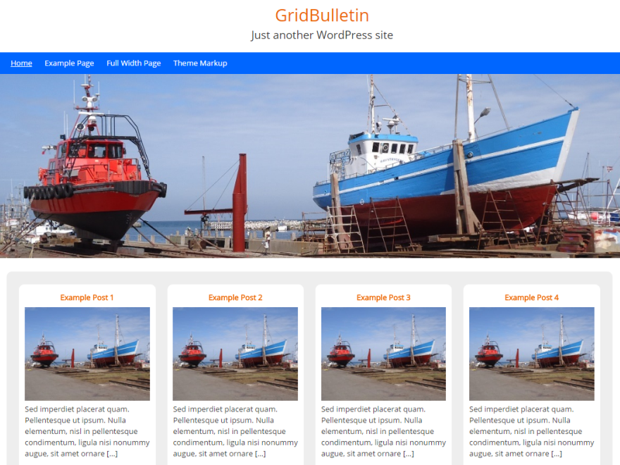 GridBulletin is a free, basic, clean, minimalistic, responsive, mobile friendly, WordPress theme in bulletin board layout. Grid layout on homepage and archive page, primary sidebar, 3 widget-area's in footer, custom header-image, custom background, display logo or blogname and description, full width page-template and dropdown navigation are included. Besides this no theme settings page, no fancy options, no slideshow, this one only has the basic options. Enjoy.