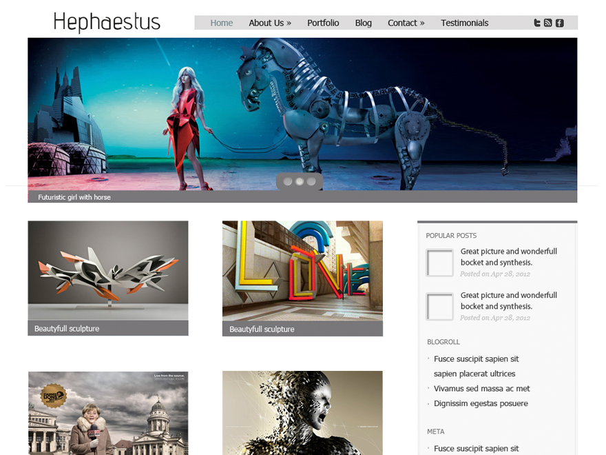 Hephaestus wordpress theme is a lightweight news and portal theme. It has custom menus, slider, header and background.
