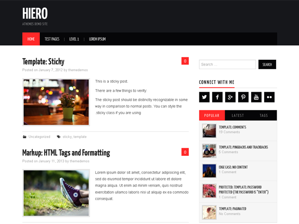 Hiero is an awesome magazine theme for your WordPress site feature bold colors and details to the content. Responsive layout, post thumbnails support, threaded comments and more.