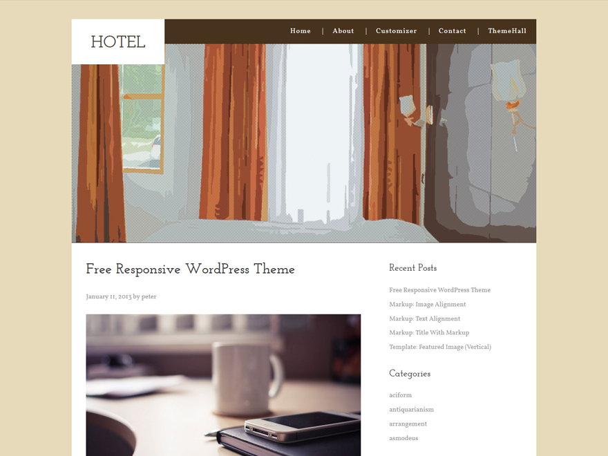 Hotel WordPress Theme is a responsive Omega child theme, Valid HTML5 Document, theme options, utilize the WordPress Customizer, Custom background, custom header, custom menu, custom css live preview. Looking for a hotel WordPress theme to showcase your rooms, highlight your location, list the facilities and features? Look no further, this Hotel WordPress theme is for you.