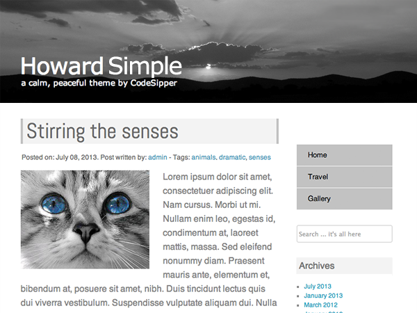 Howard Simple is a fluid two column theme with a full width image header, page menu, and widget support.