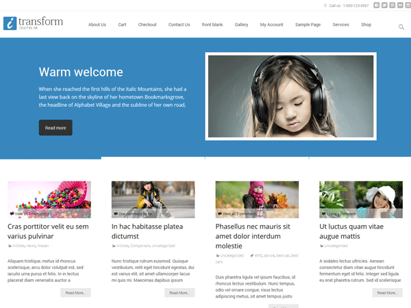 "The i-transform theme for WordPress is developed using a populer theme ""Twenty Thirteen"" giving you all the features of Twenty Thirteen plus several additional features like easy to use admin theme options, featured post section, 5 color schemes, multiple blog layouts etc."