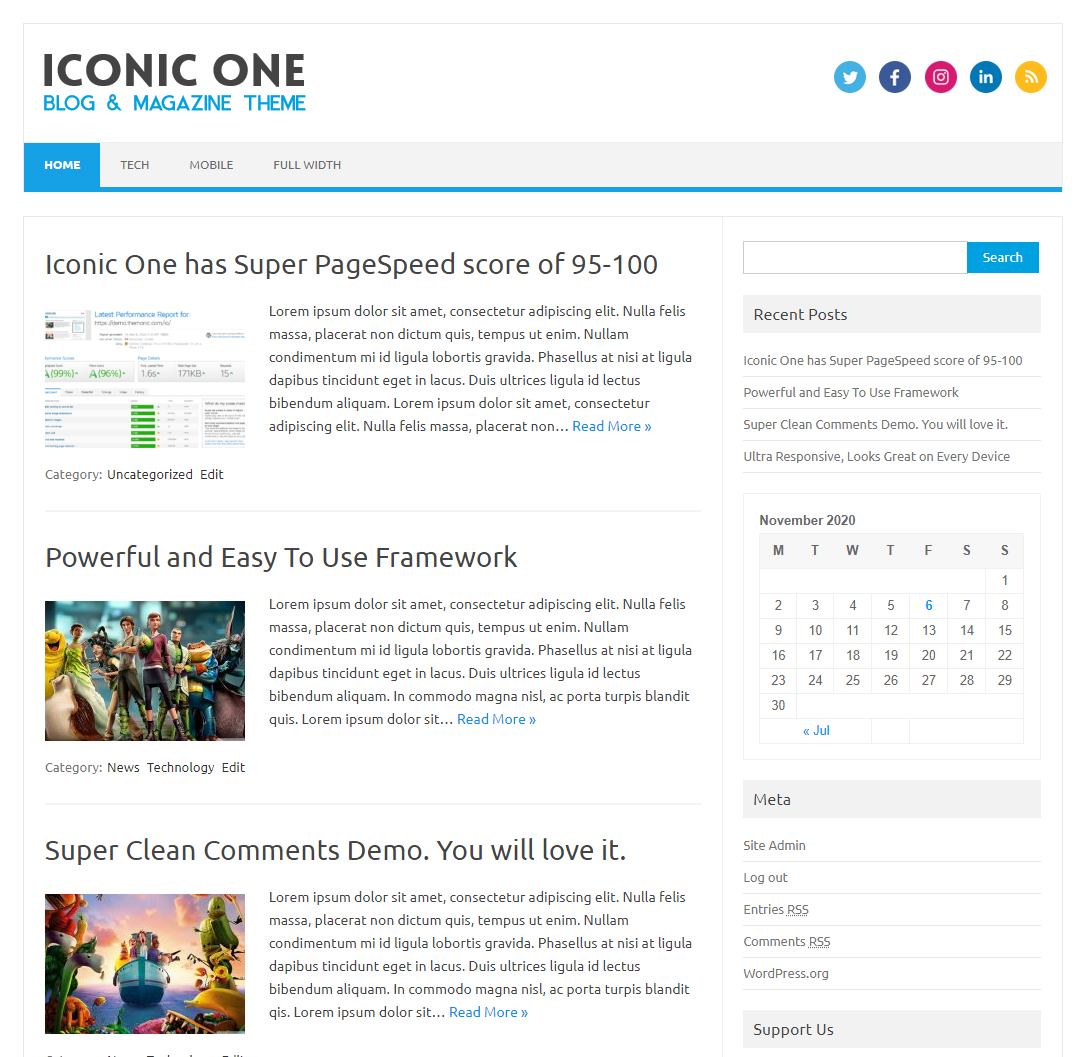 Iconic One is a premium quality theme with pixel perfect typography and responsiveness and is built for speed with pagespeed score of 95+, Iconic One implements proper SEO so that your content will rank high and is compatible with AIOSEO and Yoast SEO, It makes proper use of Live customizer that allows you to setup the theme in minutes, you can easily upload the logo, modify the background color, footer text, social media urls without touching any line of code. It utilizes latest HTML 5, CSS3 and wordpress native functions for creating the awesomeness that looks good on every browser. Support is free, access the support here http://themonic.com/support/, Report issues and feedback at http://themonic.com/feedback/.