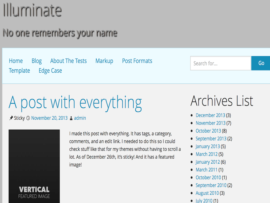 Illuminate is a clean, fully responsive theme that's versatile enough to be used for any kind of blog.
