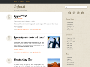 Infoist is another nice and simple blog theme. It features muted colors and nice typography, the idea being to place all the emphasis on the content. Expecting that folks will use it for personal blogs we've added social media buttons which are easily set up through a theme options page in the admin.