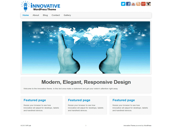 Innovative is a Simple, Clean and Responsive Ready WordPress Theme which adapts automatically to your tablets and mobile devices. Theme is easily customizable with numerous theme options. The clean and fully responsive design can be used for any type of website: corporate, portfolio, business, blog, landing page, etc. Innovative theme is translation ready and available in english, french, german, russian, brazilian portugues, spanish. Get free support on http://cyberspeclab.com/forum/