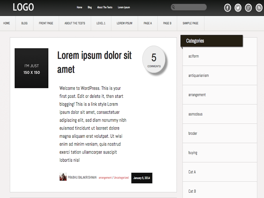 Slick wordpress theme for personal blogs and magazine sites, looks great on retina displays. Features include fluid width, lens type comment count, sidebar widgets and sticky posts. It comes with built in widgets such as recent posts with thumbs, three footer widgets and much more. The theme is lightweight using minimal javascript styles. Also comes with built in simple admin panel options page for inserting custom logo, social share links etc.