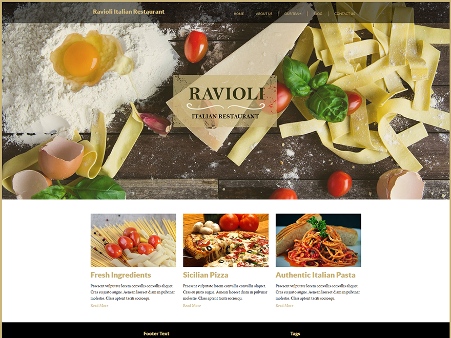 Italian Restaurant is a modern theme based on the famous responsive twitter bootstrap boilerplate. It was mainly designed for elegant restaurants, barbecues, pizzerias, fast food and recipe sites. Some of it's features include custom menu, header, background, favicon upload, footer positions, responsive design, that allows you to present your content in every device.