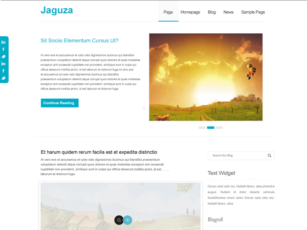 Jaguza is a fully responsive, translation-ready theme built to make your blog very fast and look amazing. It is a child theme of the awesome TwentyTwelve theme developed by the WordPress Team. Features include unlimited theme color options with over 10 pre-built, heavily-customizable homepage, amazing easily-customizable slider(that can be disabled), a stylish social bar, in-built theme help, front page template with its own widgets and an optional no-sidebar page template. All these and many more are easy to change from a classy, super powerful, easy-to-use Admin panel. Jaguza was built for speed, beauty and ease-of-use