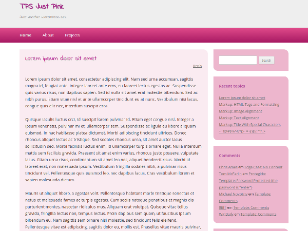 Simple pink theme based on Twenty Twelve.