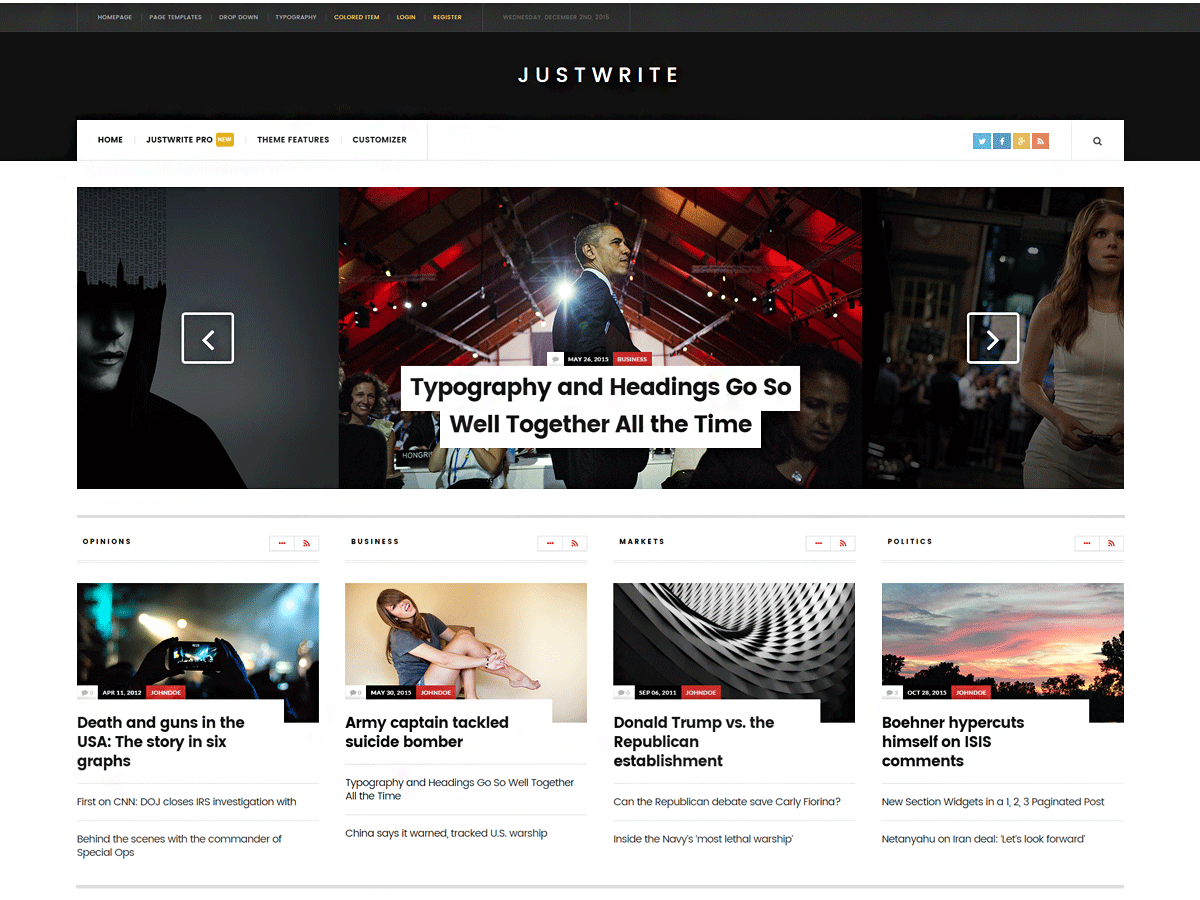 JustWrite is a theme with clean lines and an open-spaced design, that can be used to show off your latest articles.