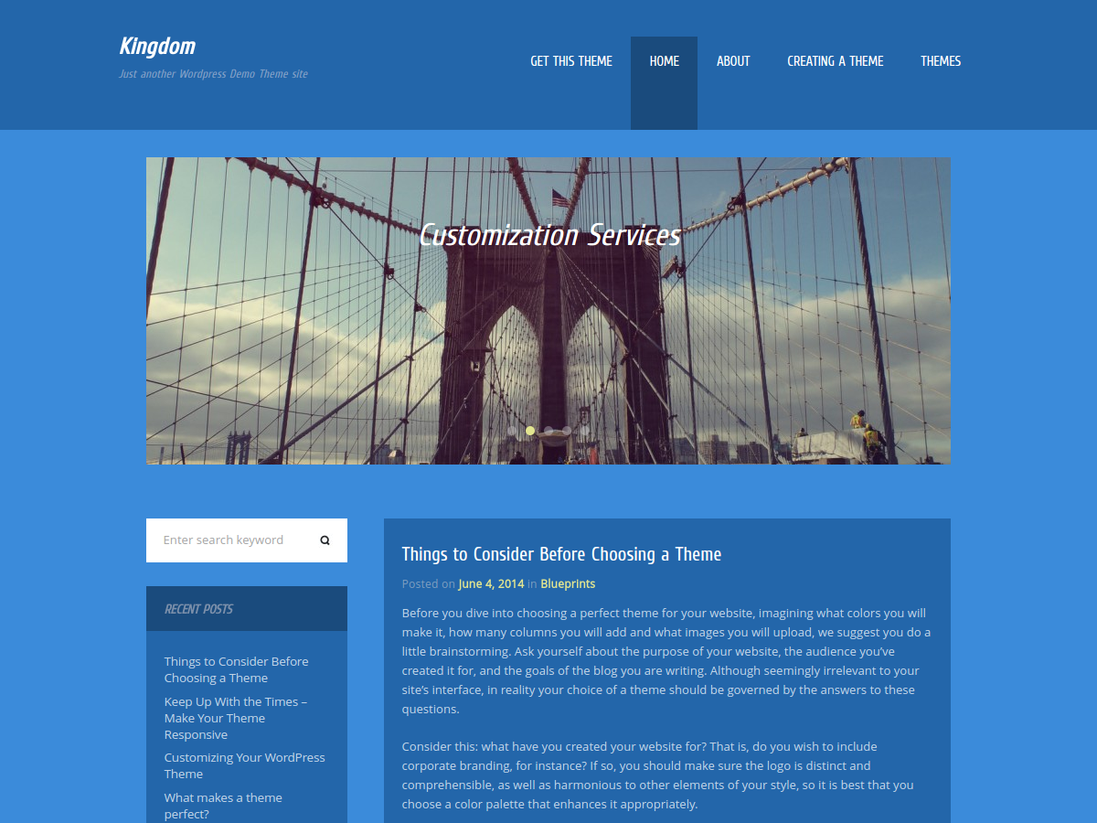 Kingdom WordPress theme is an ordinary theme with original design. She includes most standard features and built-in slider. If you like what you see in the preview, then feel free to take and use this theme.