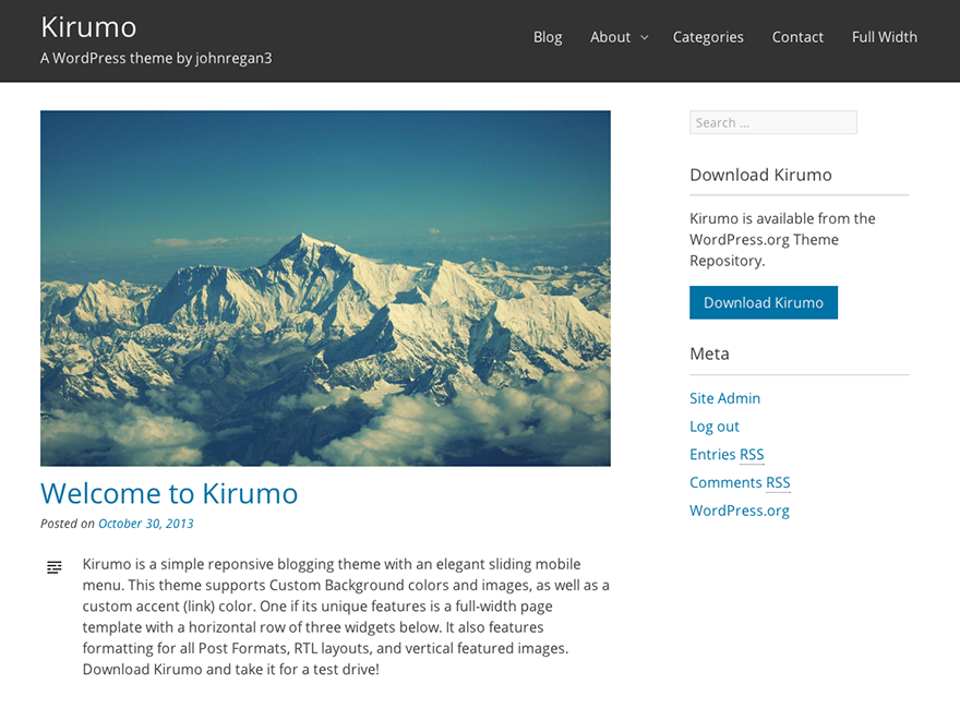 Kirumo is a simple reponsive blogging theme with an elegant sliding mobile menu.  This theme supports custom background colors and images, as well as a custom accent (link) color.  One if its unique features is a full-width page template with a horizontal row of three widgets below.  It also features formatting for all post formats, RTL layouts, and vertical featured images.  Download Kirumo and take it for a test drive!