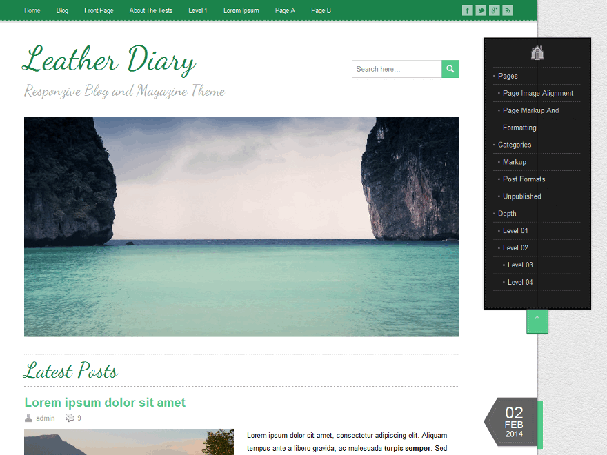 LeatherDiary is an easy customizable WordPress multipurpose theme. It is a fully responsive theme that allows for easy viewing on any device. LeatherDiary theme offers 7 pre-defined color schemes, 220 Google fonts, Theme Options Panel for easy adaptation to your needs, custom homepage widget for displaying the latest posts from the selected category, custom shortcodes, 2 menu areas, social networking icons, theme documentation and much more. Supports popular plugin Breadcrumb NavXT. Available in Czech, English, French, German, Russian, Slovak and Spanish.