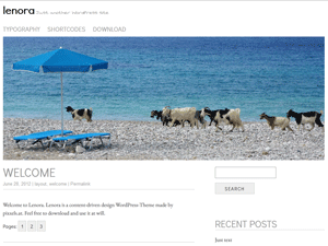 lenora is a clean two-column blog theme by pixxels.at. To customize the theme you can choose your own link-color, header-image, favicon and background. Lenora is ready to translate and is available in English and German.