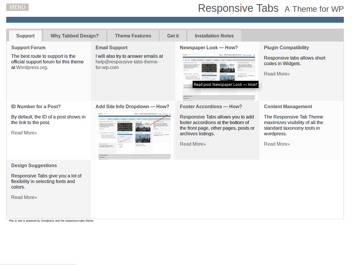 Responsive Tabs screenshot