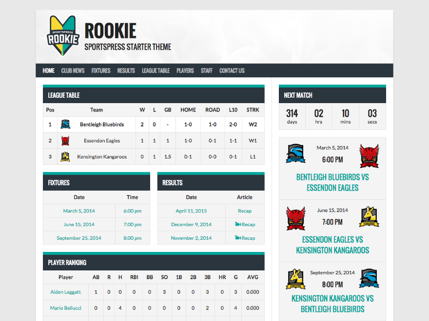 screenshot of theme Rookie