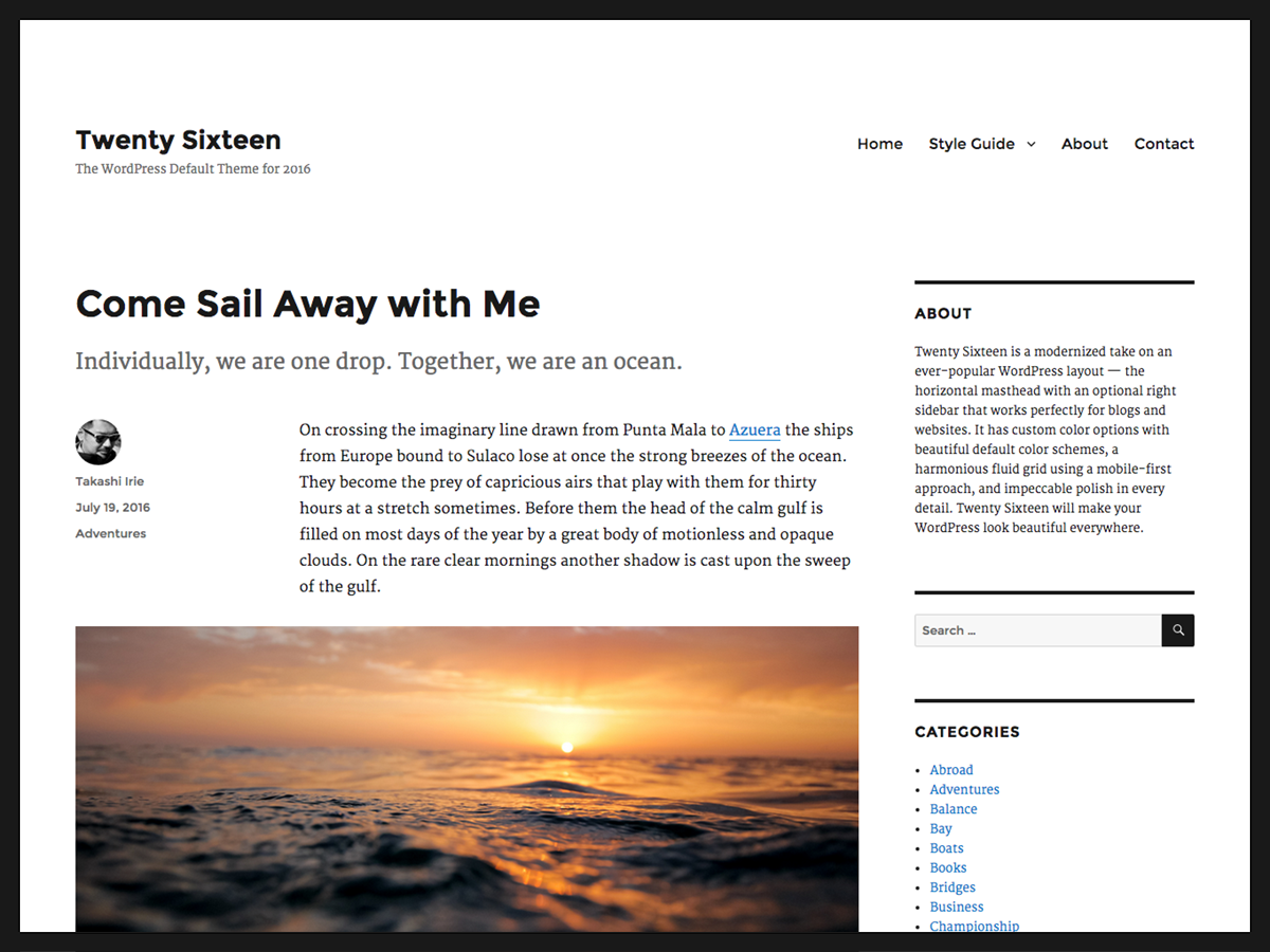 screenshot of theme Twenty Sixteen