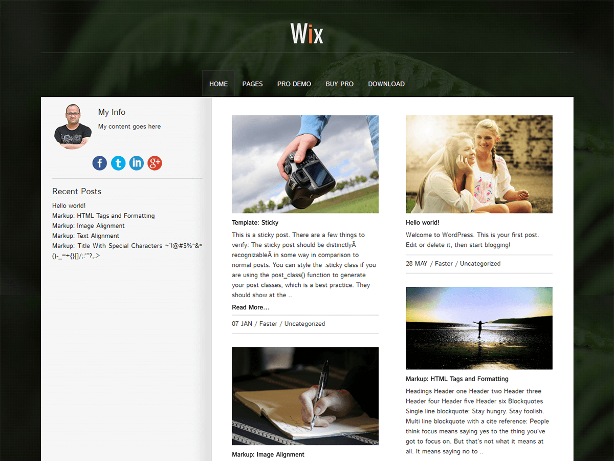 Wix screenshot