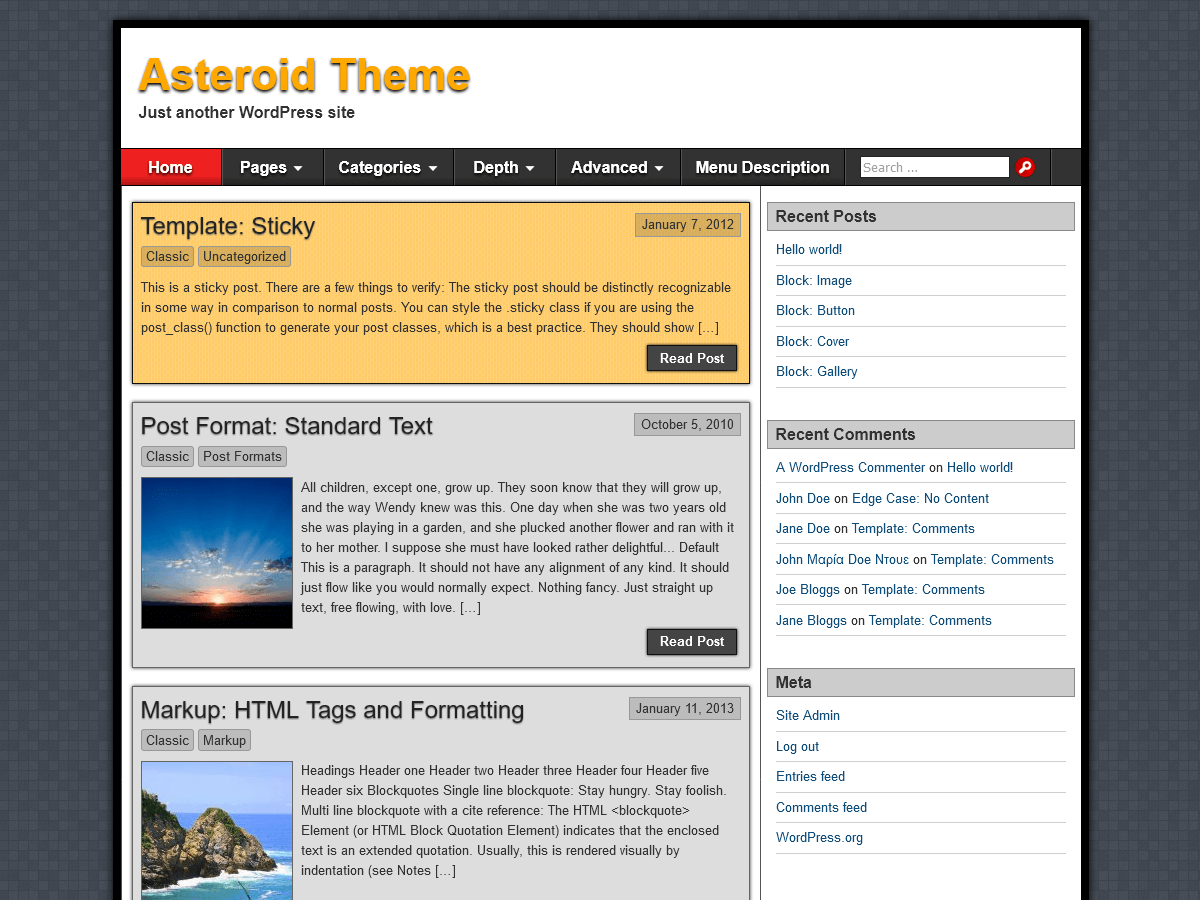 Template WordPress Asteroid