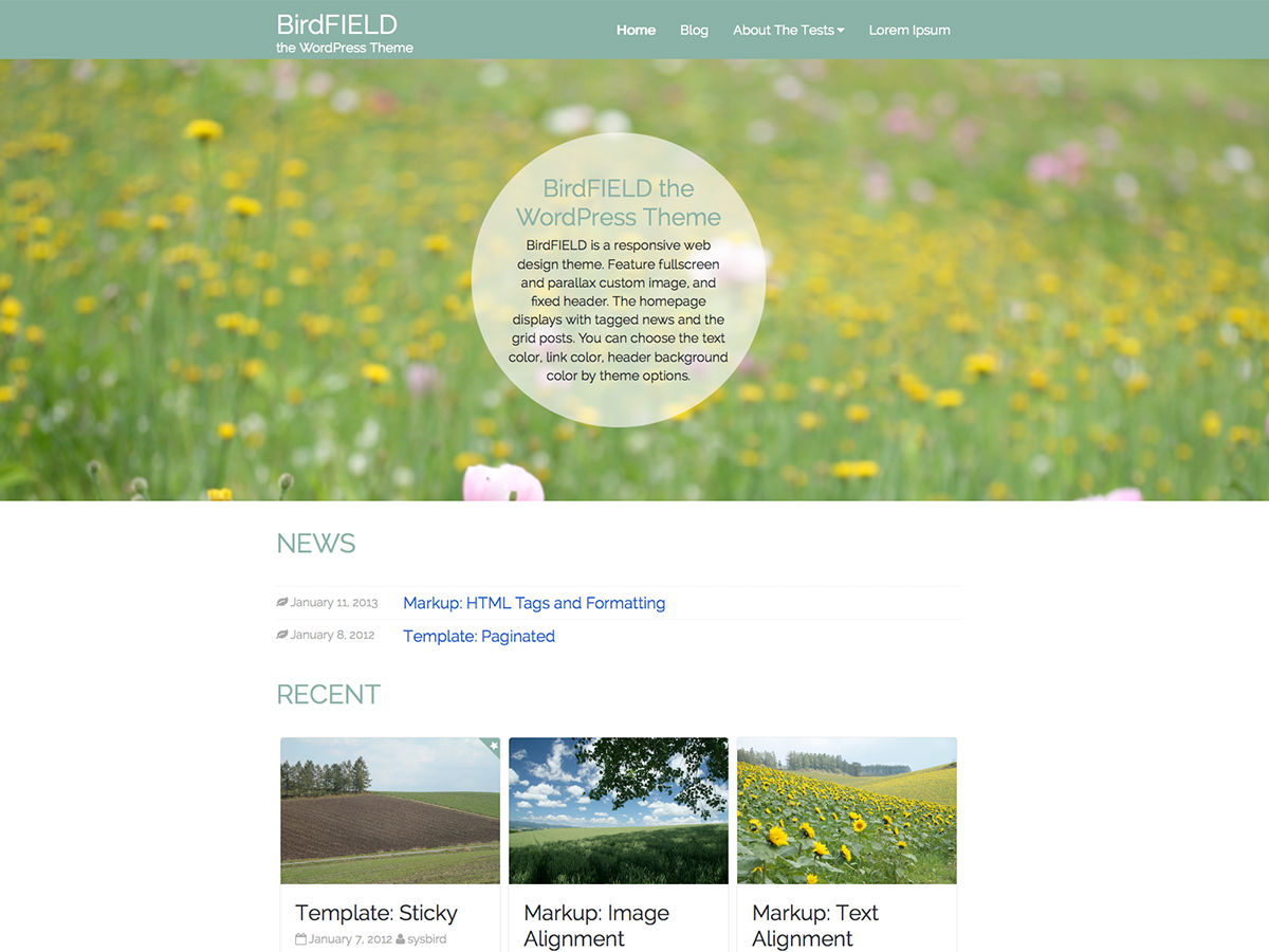 screenshot of theme BirdFIELD