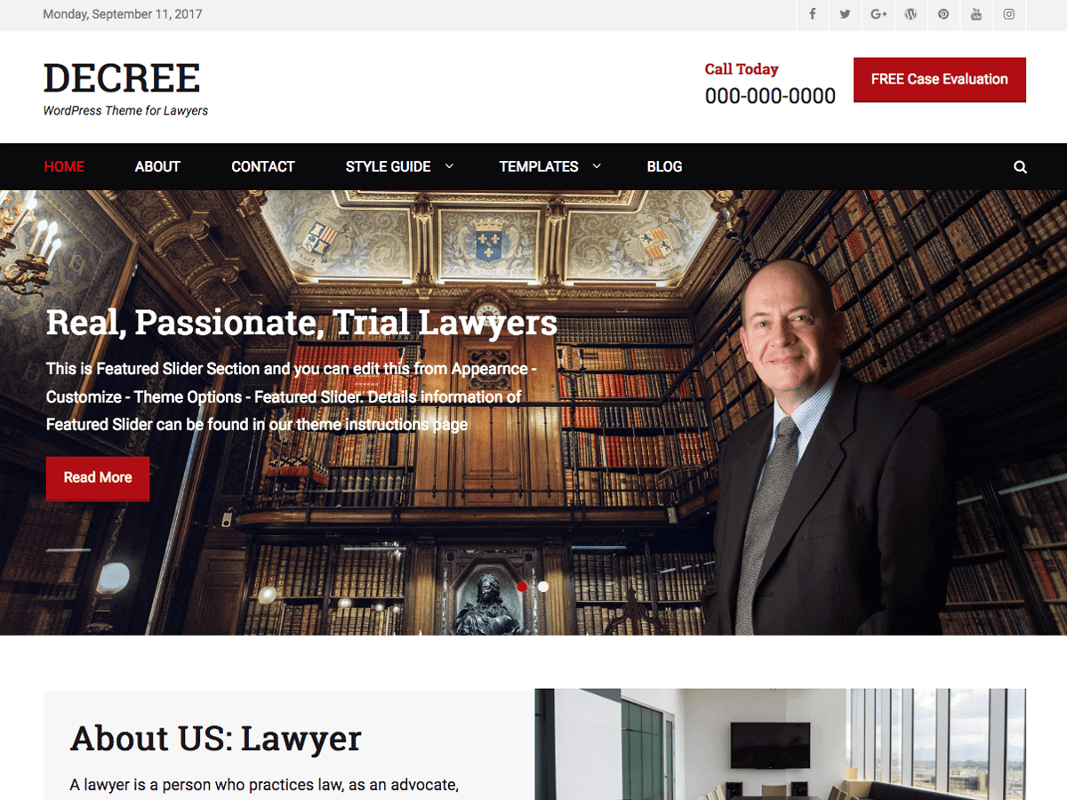 20+ Free Lawyers WordPress Themes 2019 4