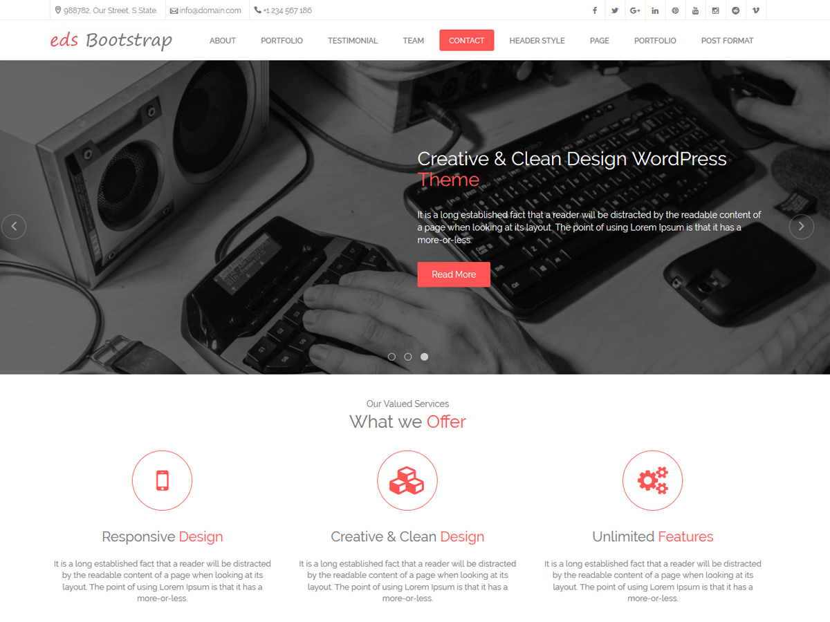 Top 35+ Free Bootstrap WordPress Themes 2019 3
