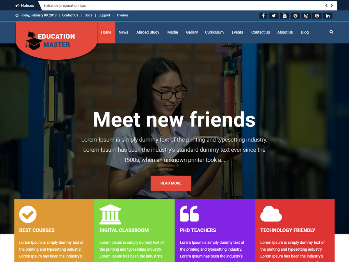Best Free school WordPress Themes 2018 - EnvoThemes
