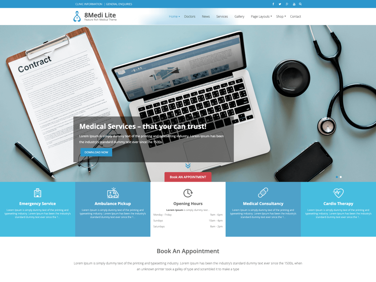 25+ Free Medical WordPress Themes 2019 4