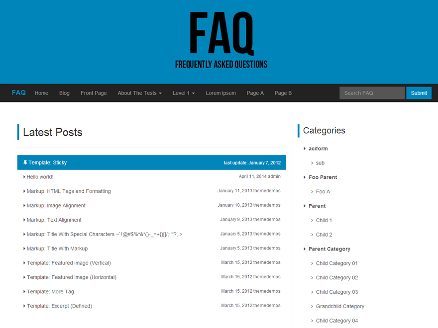 FAQ screenshot