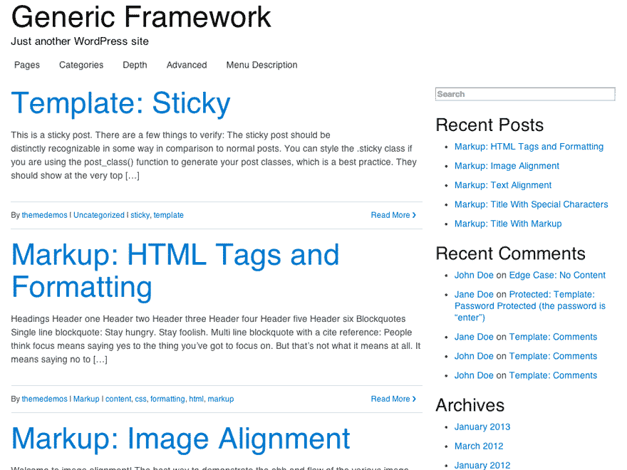 Generic Framework screenshot