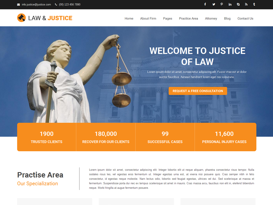 20+ Free Lawyers WordPress Themes 2019 6