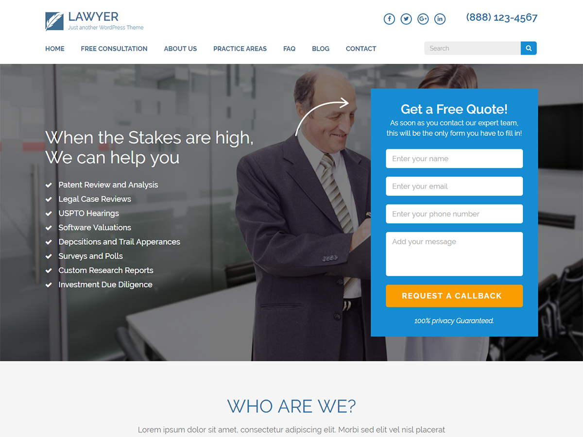 20+ Free Lawyers WordPress Themes 2019 14