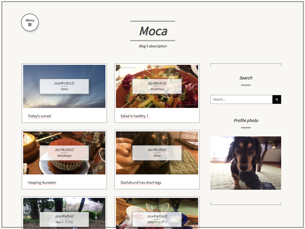 screenshot of theme moca