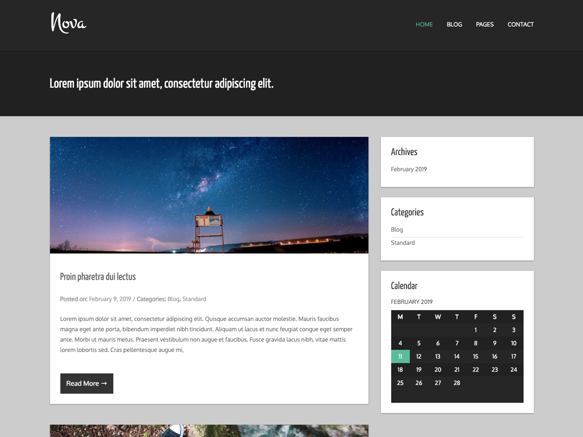 A two column WordPress theme