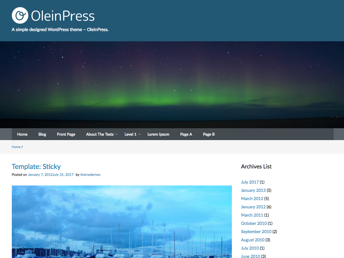 screenshot of theme OleinPress