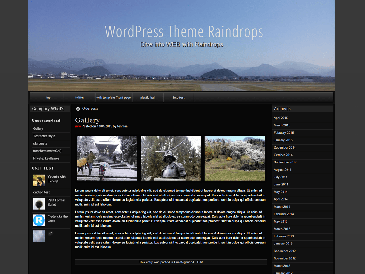 screenshot of theme raindrops